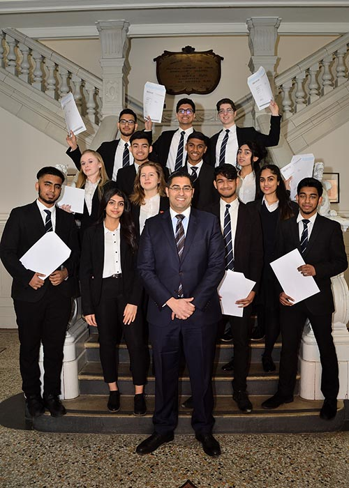 NCS Principal Mouhssin Ismail With Students Collecting A Level Results